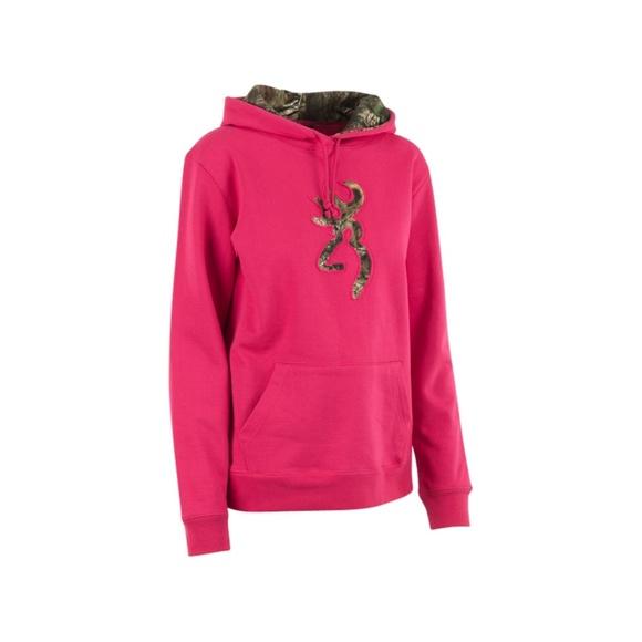 a07697a969436 Browning Tops | Camo Buckmark Hoodie Sweatshirt Pink S | Poshmark